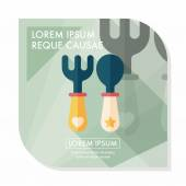 Dishware and cutlery flat icon with long shadow,eps10 — Stock Vector