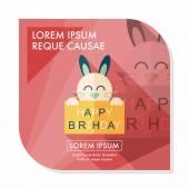 Happy birthday rabbit card flat icon with long shadow,eps10 — Stock Vector