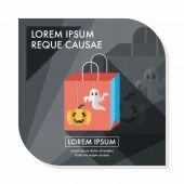 Halloween shopping bag flat icon with long shadow,eps10 — Stock Vector