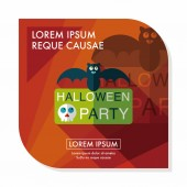 Halloween party sign flat icon with long shadow,eps10 — Stock Vector