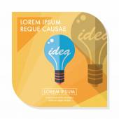 Light bulb flat icon with long shadow,eps10 — Stock Vector