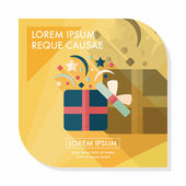 Shopping present flat icon with long shadow,eps10 — Stockvektor