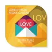 Dia dos namorados amor ícone de carta plana com sombra longa, eps10 — Vetor de Stock