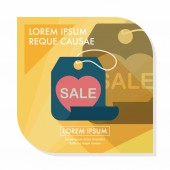 Valentine's Day SALE flat icon with long shadow,eps10 — Stock Vector