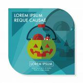 Halloween pumpkin shaped box flat icon with long shadow, eps10 — Stock Vector