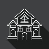 Building house flat icon with long shadow,eps10 — Stock Vector