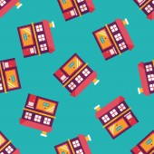Building shop store flat icon,eps10 seamless pattern background — ストックベクタ
