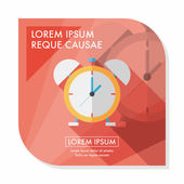 Relógio despertador ícone plana com sombra longa, eps10 — Vetor de Stock
