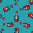 Guitar flat icon seamless pattern background — Stock Vector #72003957