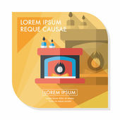 Christmas fireplace flat icon with long shadow,eps10 — Stock Vector