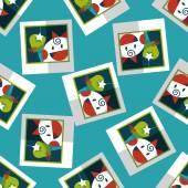 Newborn photo flat icon,eps10 seamless pattern background — Stock Vector