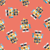 Vintage robot flat icon,eps 10 seamless pattern background — Vettoriale Stock