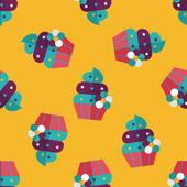 Birthday cake flat icon,eps10 seamless pattern background — Stock Vector