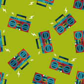 Ghetto blaster audio flat icon,eps10 seamless pattern background — Stock Vector