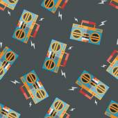 Ghetto blaster audio flat icon,eps10 seamless pattern background — Stock vektor