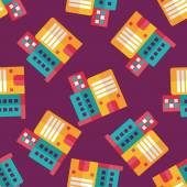 Commercial Building flat icon,eps10 seamless pattern background — ストックベクタ
