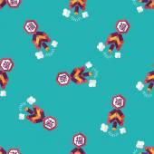中国の旧正月フラット アイコン、eps10、単語 Fu、中国祭り工のシームレスなパターン背景 — ストックベクタ