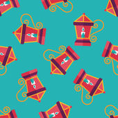 Christmas lantern flat icon,eps10 seamless pattern background — Stock Vector
