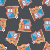 Gingerbread house flat icon,eps10 seamless pattern background — Stock Vector