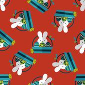 Easter bunny platte pictogram, eps10 naadloze patroon achtergrond — Stockvector