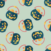 Halloween pumpkin shaped box flat icon, eps10 seamless pattern background — Stock Vector