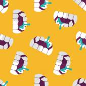Halloween fangs flat icon,eps10 seamless pattern background — Stock Vector