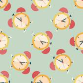 Alarm clock flat icon,eps10 seamless pattern background — Stock Vector