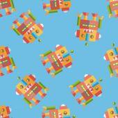 Vintage robot flat icon,eps 10 seamless pattern background — Vector de stock
