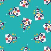 Valentine's Day wedding church flat icon,eps10 seamless pattern background — Stock Vector