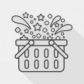 Einkaufs Korb flach Icon mit langen Schatten, Symbol — Stockvektor