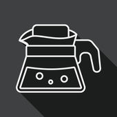 Coffee kettle flat icon with long shadow, line icon — Stock Vector