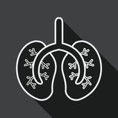 Lungs flat icon with long shadow, line icon — Stock Vector