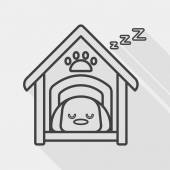 Pet dog house flat icon with long shadow, line icon — Stock Vector