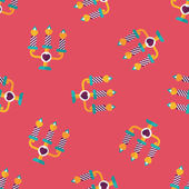 Valentine's Day candle flat icon,eps10 seamless pattern background — ストックベクタ