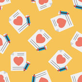 Valentine's day love letter flat icon,eps10 seamless pattern background — Stockvector