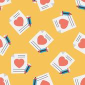 Valentýna milostný dopis plochý ikona, eps10 vzor bezešvé pozadí — Stock vektor