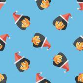 Christmas girl flat icon,eps10 seamless pattern background — Stok Vektör