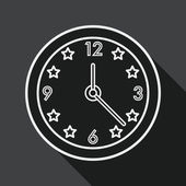 Clock flat icon with long shadow, line icon — Stock Vector