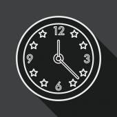 Zegar płaski ikona z długi cień, linia ikona — Wektor stockowy