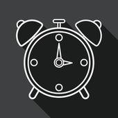 Alarm clock flat icon with long shadow, line icon — Wektor stockowy