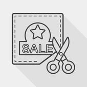 Shopping sale coupon flat icon with long shadow, line icon — Stock Vector