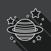 Space planet flat icon with long shadow, line icon — Stock Vector