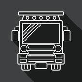 Transportation school bus flat icon with long shadow, line icon — Cтоковый вектор