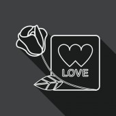 Valentine's day love letter flat icon with long shadow, line icon — Vetor de Stock