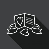 Valentine's day love letter flat icon with long shadow, line icon — Stock vektor
