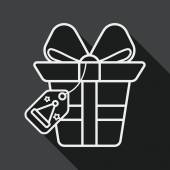 Christmas gift flat icon with long shadow, line icon — Stock Vector