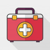 First aid kit flat icon with long shadow,eps10 — Stock Vector