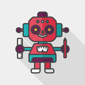 Robot flat icon with long shadow,eps10 — Stock Vector