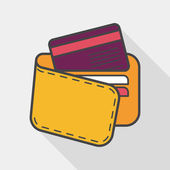 Shopping wallet flat icon with long shadow,eps10 — Stock Vector