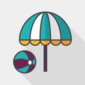 Beach umbrella with ball flat icon with long shadow,eps10 — Stock Vector